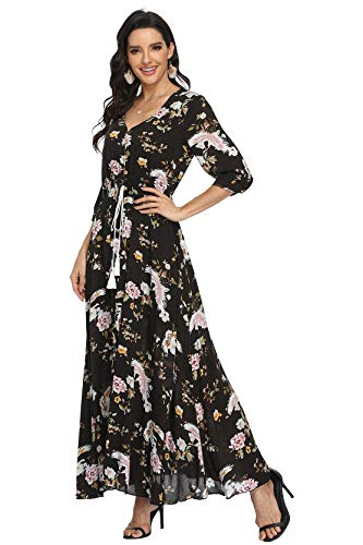 VintageClothing Women's Floral Maxi Dresses with Sleeves Flowy Boho Beach Party Dress Casual Summer Dress, M