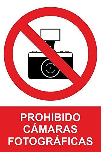 MovilCom® - Adhesivo PROHIBIDO CAMARAS FOTOGRAFICAS 200X300mm Señal prohibición (ref.RD40635)