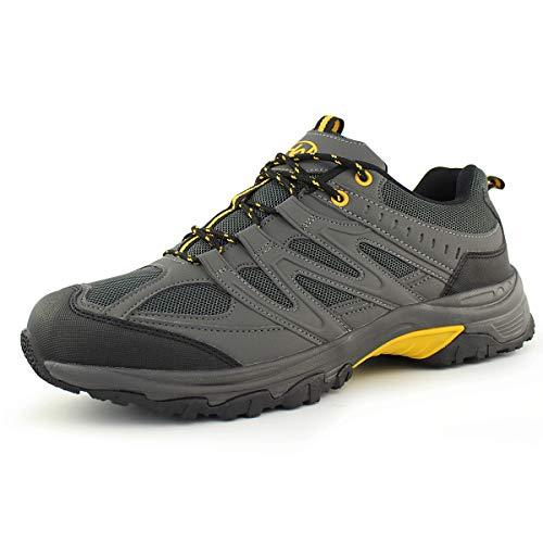 Hawkwell Men's Outdoor Waterproof Hiking Shoes, Grey Yellow Mesh, 11 M US