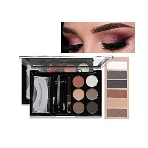 Kit de Polvos Para Cejas 6 Colores, Lápiz de Cejas Marrón, Pincel y Plantilla Cejas en uno, Kit Ideal Maquillaje Cejas (01)