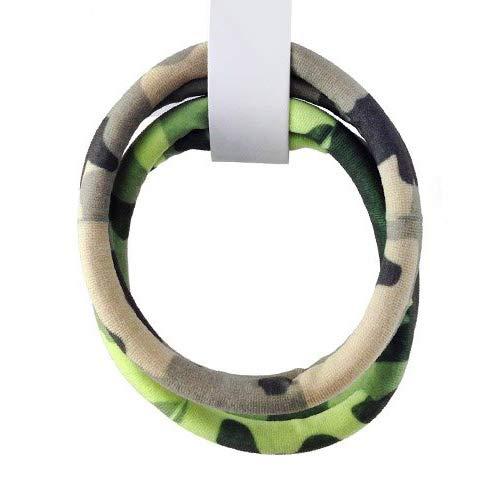 1161 – 278 – Lot de 2 élastiques pour cheveux microfibre imprimé camouflage couleurs assorties – cm 1 x 6 cm de diamètre
