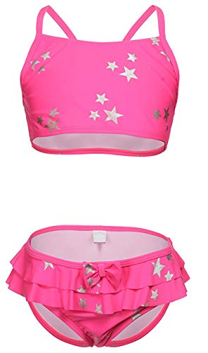 DUSISHIDAN Bikini Kinder Mädchen Zweiteiliger Bademode Süß Sommer Badeznaug Rosa Sterne L