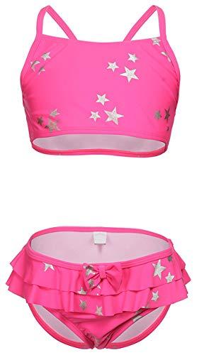 DUSISHIDAN Badeanzug für Kleinkinder und große Mädchen, zweiteiliges Tankini-Oberteil und Slip Set,134-146 M(8-10),Rosa Sterne