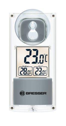 Bresser Solar Fenster-Thermometer (mit transparentem Gehäuse und Saugnäpfen)