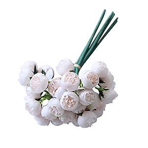 Silk Flower Arrangements Freeby 27Heads Artificial Fake Flowers Rose Camellia Bouquet Silk Flower Wedding Party Home DIY Decor (B, 28cmx16cm)