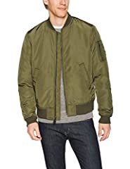 """This lightweight bomber jacket features a satin-finished body with contrast ribbing at collar, cuffs, and hem Zip pocket at left upper arm, slash hand pockets Model is 6'2"""" and wearing a size M"""