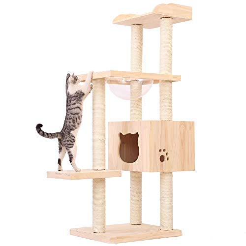 Tour d'escalade Cat Meubles Scratching Post escalade Perches plate-forme for Kittens Pet Maison Jouer Chat Maison Grand Arbre d'activité en bois avec griffoir Cat House Centre Toy Grimpeur pour les ch