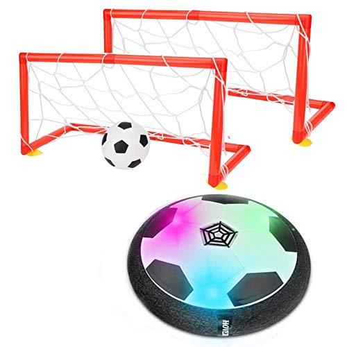 colmanda Air Fussball Spielzeug, Kinderspielzeug Fußball mit LED Beleuchtung und Musik, Air Power Soccer Fußball Air Power Fußball Set für Drinnen und Draußen Kinder Air Soccer Spiel