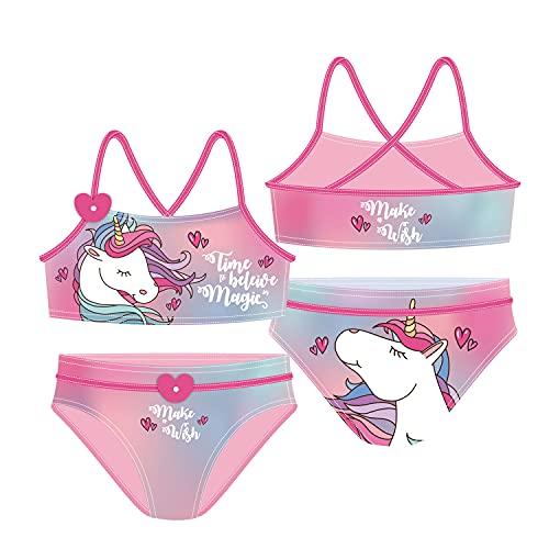 familie24 Einhorn Bikini NEU Kinderbadeanzug Bikini Badebekleidung Unicorn Pferd (6 Jahre)
