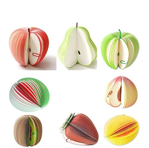 PILAAIDOU Mixed Novelty 3D Fruit Shape Memo Note Pads Unusual Gift Office Notepad You will have Eight Kinds: Apple, Green Apple, Pear, Watermelon, Kiwi, Oranges, Strawberries, Peaches Set of 8