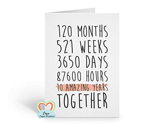 10th wedding anniversary card, 10th anniversary card, 10 amazing years, 10 years together