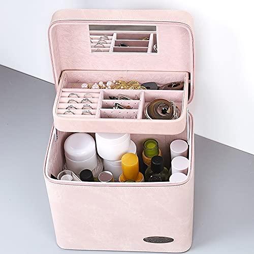 YEE Bolsa de cosméticos para Mujer, Bolsa de cosméticos con Espejo de Maquillaje, Caja de Almacenamiento cosmético, Caja de Almacenamiento, portátil de Viaje (Color : Pink, Size : B)