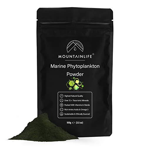 Mountainlife Marine Phytoplankton Powder   100g   Highest Natural Quality   Deep Sea Mineral Rich Phytoplankton Algae Powder   Suitable For Humans & Pets   Natural Borehole Farmed Marine Phytoplankton