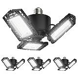 4-Pack LED Garage Lights, 50W LED Shop Light with 3 Ultra Bright Adjustable Panels, 5000LM 6500K Deformable Ceiling Lights for Garage, Attic, Basement, E26/E27 Base