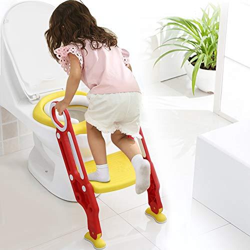 AYNEFY Kinder Toilettensitz Toilettenstuhl Toilettentrainer mit Höhenverstellbar Treppe Faltbar Töpfchen mit PU Kissen und Griffen(Rot)