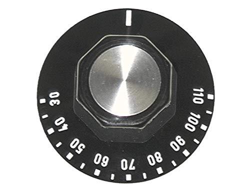 EGO 524.805 BOUTON UNIVERSEL POUR THERMOSTAT DE POÊLE / FOUR T. MAX. 110 ° C Ø 50MM ARBRE Ø 6X4.6MM ARBRE PLAT SUPÉRIEUR NOIR