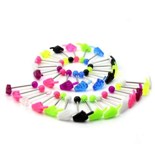 Set 30 Piercing Lingua Mano Gesto Dito Medio Pallina Bar Vari Colori Body Art