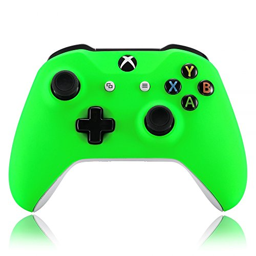 eXtremeRate Neon Green Soft Touch Grip Front Housing Shell Faceplate for Microsoft Xbox One X & One S Controller Model 1708 - Controller NOT Included