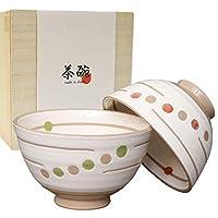 夫婦茶碗 ギフト 波佐見焼 ペア セット 粉引水玉   有田焼 茶碗 ご飯茶碗 おしゃれ モダン 木箱入り