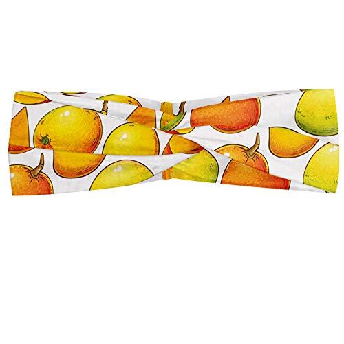 ABAKUHAUS Mango Hoofdband, Tropisch fruit, Elastische en Zachte Bandana voor Dames, voor Sport en Dagelijks Gebruik, Oranje Lime Green White