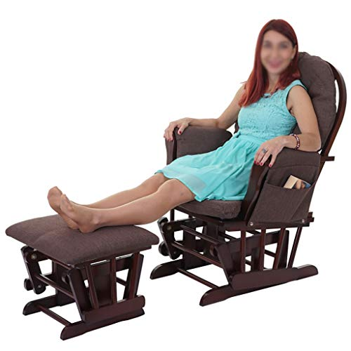 shcc Maternity Rocking Chair, Padded Smooth Glider Baby Nursing Chair & Foot Stool With 3 Reclining Positions –Brown Wood Frame With Brown Soft Fabric Cushions