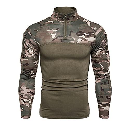 ThaiFan Camisa táctica de Manga Larga Camo Exteriores con Cremallera Militar de 1/4 para Hombre,con Bolsillos,Camping, Senderismo
