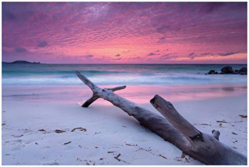 Wallario Glasbild Abendhimmel bei Sonnenuntergang - 60 x 90 cm in Premium-Qualität: Brillante Farben, freischwebende Optik