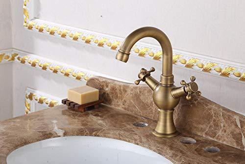 VZJSLT Moderne waterkraan, retro-waterkraan, 360 graden draaibaar, roestvrijstalen waterkraan, eenhands-waterkraan, fijne koper, wastafel, antieke waterkraan, koud, dubbele wastafel, kleine buiging