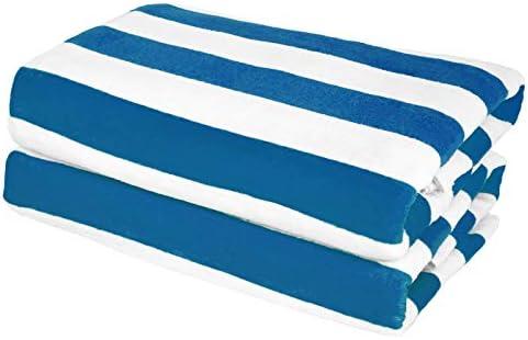 Exclusivo Mezcla 2 Pack 100 Cotton Cabana Navy Blue Striped Beach Pool Bath Towel 30 x 60 Soft product image