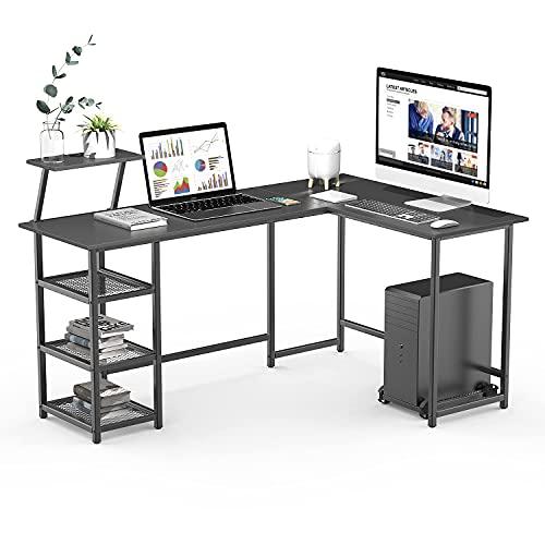 Naspaluro L-Shaped Desk, Large 2 Layer Storage Computer Desk Wood Corner Desk with CPU Stand, PC...