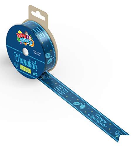 Hanukkah Gift Wrap Ribbon - Blue Nylon Wrapping Paper Ribbon - 15mm x 3mm