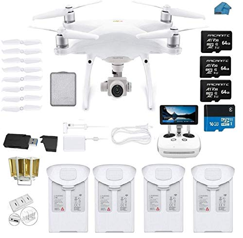 DJI Phantom 4 PRO Quadcopter Drone with 1-inch 20MP 4K Camera KIT + 4 Total DJI Batteries + 3 64GB Micro SDXC Cards + Card Reader 3.0 + Snap on Prop Guards + Range Extender + Charging Hub