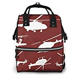 Helicopters Red Travel Bag Multi-Function Canvas Nursing Bag Stylish and Durable Mummy Backpack