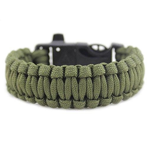 Bluestercool Rettung Seil Feuerstein Feuer Starter Überleben Ausrüstung Outdoor-Armband (Armee-grün)