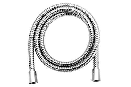 AQUAE T192032 - Flessibile doccia in metallo, finitura cromata, 150 cm, doppia aggraffatura, sistema anti torsione