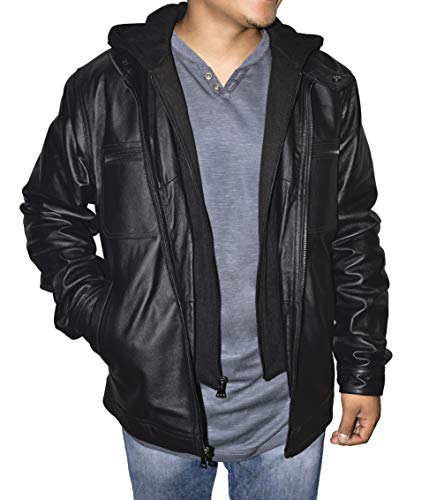 Victory Outfitters Men's Zip Out Hood Genuine Leather Jacket - Black - XXL