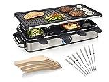 Grande barbecue da tavolo per 8 persone, con 8 etichette, piastra di cottura reversibile, piastra grill 42 x 21 cm, 1400 Watt