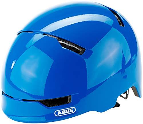 ABUS Scraper 3.0 Kid Kinderhelm - Robuster Fahrradhelm für Kinder - mit Rücklicht für den Stadtverkehr - für Jungs und Mädchen - 81751 - Blau Glänzend, Größe M