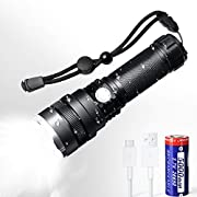 Rechargeable Flashlight,1600 High Lumens Professional Flashlight, 26650 5000 mAh battery included, for Hiking, Camping, and Hunting.