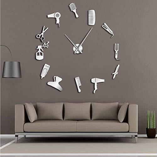 Knncch 47 Pulgadas de Plata Bricolaje peluquería Reloj de Pared Gigante con Efecto Espejo Kits de Herramientas de barbero Decorativos sin Marco Reloj Reloj Peluquero barbero Arte de la Pared