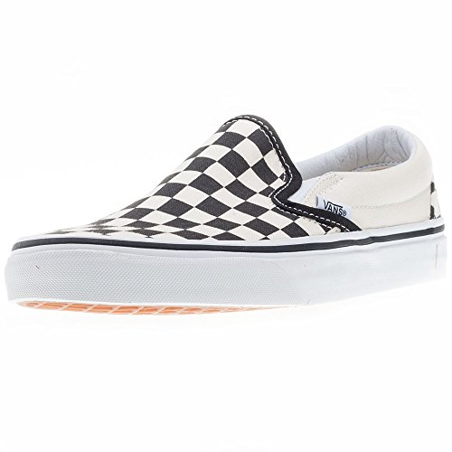 Vans Unisex Adult Classic Slip-on Checkerboard Trainers, White (Black And White Checker/White), 12 US