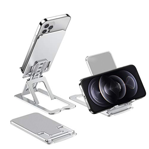 Phone Stand, Angle Height Adjustable Phone Holder, Tablet Stand, Aluminum Phone Dock Cradle Stand for Desk, Compatible with iPhone 12, 11, Xs XR X,8/7 Plus, Samsung, All Smartphone, ἱPad (4-12 inch)