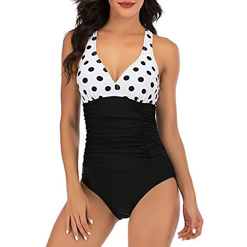 CLUCI Damen Einteiler Badeanzüge Ruched Tommy Control Bademode V-Ausschnitt Sexy Rücken Crossover Badeanzug - Schwarz - Medium