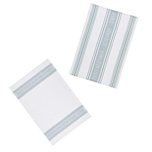 Kitchen Craft Textiles French-Style 100% Cotton Jacquard Tea Towels, 70 x 47 cm-Grey/White (Set of 2), 46 x 0,1 x 69,5 cm