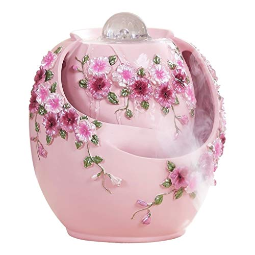 Indoor Fountains Tabletop Fountains Flowing Water Fountain Humidifier Lucky Feng Shui Living Room Office Desktop Home Pink Decorative Resin Gift 222024cm Home Décor Tabletop Indoor Fountain