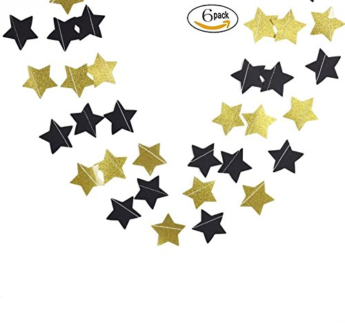 Glitter Black and Gold Five Twinkle Twinkle Little Star Decorations Paper Decorations for Baby Shower,Birthday Party Wedding Party 6 PCS …
