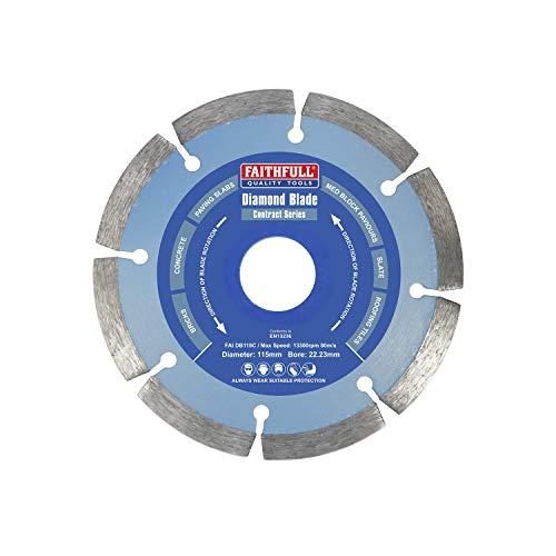 Faithfull FAIDB115C Paving Slab, Concrete, Brick and Roofing Tiles, General Purpose Diamond Cutting Blade 115mm (4.5 Inch)