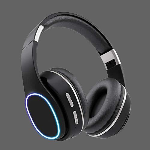 Auriculares de gama alta sobre oreja, auriculares estéreo de alta fidelidad Bass de profundidad, Modos plegables y ligeros, por cable e inalámbrico incorporados en MIC para teléfonos celulares TV PC (