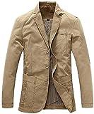 Stgfstydt Mens Casual Solid Plus Size 2 Button Cotton Dress Blazer Jacket Suit Coat