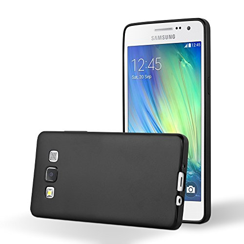 Cadorabo Coque pour Samsung Galaxy A5 2015 en Metallic Noir - Housse Protection Souple en Silicone TPU avec Anti-Choc et Anti-Rayures - Ultra Slim Fin Gel Case Cover Bumper